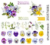 vintage pansy flowers and... | Shutterstock .eps vector #353576081