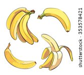 bananas set in cartoon style.... | Shutterstock .eps vector #353578421