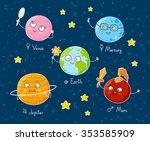 set of cute cartoon planets | Shutterstock .eps vector #353585909