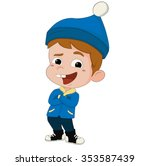 winter holidays. kid playing in ... | Shutterstock .eps vector #353587439
