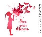 little girl blowing out... | Shutterstock .eps vector #353602271