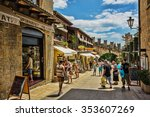 Small photo of SAN - MARINO, ITALY - JUNE 22, 2014: Beautiful little streets of San - Marino waiting for tourists.