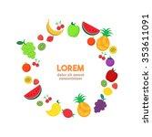 fruit vector circle background  ... | Shutterstock .eps vector #353611091