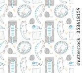 lazy cats seamless pattern | Shutterstock .eps vector #353618159