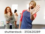 young artists in gallery... | Shutterstock . vector #353620289