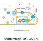digital marketing and social... | Shutterstock .eps vector #353622671
