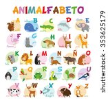 cute cartoon zoo illustrated... | Shutterstock .eps vector #353625179