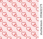 seamless pattern of red hearts  ... | Shutterstock .eps vector #353632175