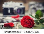Red Rose Flower And Vintage...