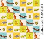 set of funny animals bat turtle ... | Shutterstock . vector #353643491