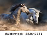 Couple Of Horse Run In Dust At...