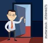 open door to career. happy man...   Shutterstock .eps vector #353646071
