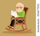 old man sitting in rocking... | Shutterstock .eps vector #353677031