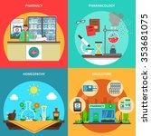 pharmacy design concept set... | Shutterstock .eps vector #353681075