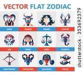 flat zodiac signs  horoscope ... | Shutterstock .eps vector #353692379