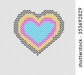 knitted heart shape with cmyk... | Shutterstock .eps vector #353692829