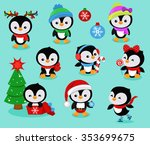 collection of cute christmas... | Shutterstock .eps vector #353699675