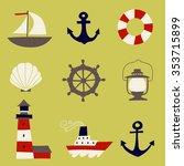 cute nautical  set. flat vector ...   Shutterstock .eps vector #353715899