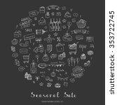 hand drawn doodle seasonal sale ... | Shutterstock .eps vector #353722745