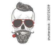 hipster skull in glasses with... | Shutterstock .eps vector #353725259
