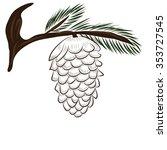 bump on fir branch illustration