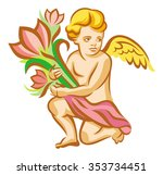 angel with a bouquet of flowers | Shutterstock .eps vector #353734451