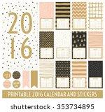 twelve month 2016 calendar... | Shutterstock .eps vector #353734895