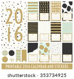 twelve month 2016 calendar... | Shutterstock .eps vector #353734925