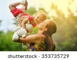 young mother with her little... | Shutterstock . vector #353735729