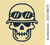 one thin line skull in helmet... | Shutterstock .eps vector #353738075