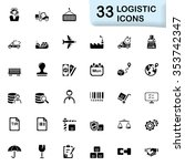 black logistic icons | Shutterstock .eps vector #353742347