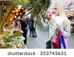 beautiful woman with long blond ... | Shutterstock . vector #353743631
