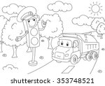 cartoon lorry with traffic... | Shutterstock .eps vector #353748521