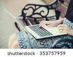 young woman using tablet ... | Shutterstock . vector #353757959