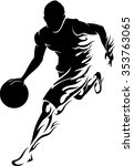 basketball player flame flaming ... | Shutterstock .eps vector #353763065