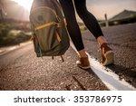 female traveler walking with... | Shutterstock . vector #353786975
