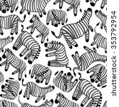 cute zebra pattern | Shutterstock .eps vector #353792954