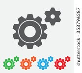 icon of gears. flat style.... | Shutterstock .eps vector #353796287