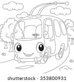 cartoon trolleybus. vector... | Shutterstock .eps vector #353800931