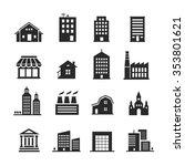 building  shop icon set one... | Shutterstock .eps vector #353801621