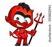young devil  he has a trident... | Shutterstock .eps vector #353803961