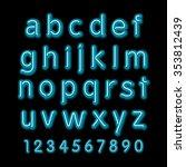 neon glow alphabet.  design... | Shutterstock . vector #353812439