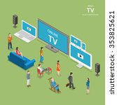 streaming tv isometric flat low