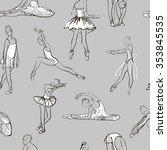 vector sketch of girls... | Shutterstock .eps vector #353845535