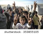 syrian refugees families who...   Shutterstock . vector #353855105