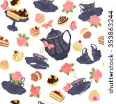 seamless pattern with teapots ... | Shutterstock .eps vector #353863244