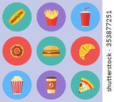 set of fast food flat round... | Shutterstock .eps vector #353877251