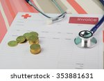 medical bill with stethoscope... | Shutterstock . vector #353881631