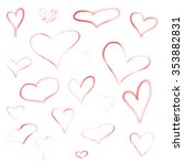 set of hand drawn hearts | Shutterstock . vector #353882831