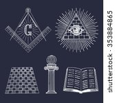 vector masonic symbols set.... | Shutterstock .eps vector #353884865
